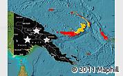 Flag Map of Papua New Guinea, satellite outside