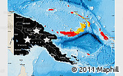 Flag Map of Papua New Guinea, shaded relief outside