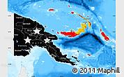 Flag Map of Papua New Guinea, single color outside, bathymetry sea