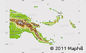 Physical Map of Papua New Guinea, cropped outside