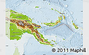 Physical Map of Papua New Guinea, lighten