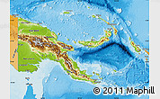 Physical Map of Papua New Guinea, political outside, shaded relief sea