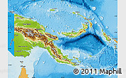 Physical Map of Papua New Guinea, political shades outside, shaded relief sea