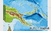 Physical Map of Papua New Guinea, satellite outside, shaded relief sea