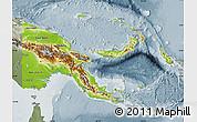 Physical Map of Papua New Guinea, semi-desaturated