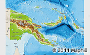 Physical Map of Papua New Guinea, shaded relief outside