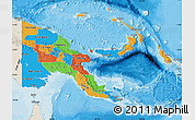 Political Map of Papua New Guinea, shaded relief outside, bathymetry sea