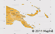 Political Shades Map of Papua New Guinea, cropped outside