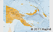 Political Shades Map of Papua New Guinea, lighten