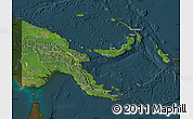 Satellite Map of Papua New Guinea, darken