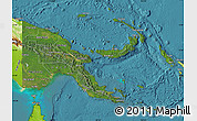 Satellite Map of Papua New Guinea, physical outside, satellite sea
