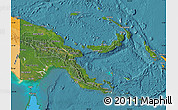 Satellite Map of Papua New Guinea, political outside, satellite sea