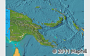 Satellite Map of Papua New Guinea, political shades outside, satellite sea