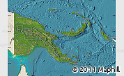 Satellite Map of Papua New Guinea, shaded relief outside, satellite sea