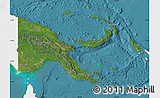 Satellite Map of Papua New Guinea, single color outside