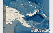 Shaded Relief Map of Papua New Guinea, darken