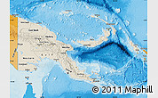 Shaded Relief Map of Papua New Guinea, political outside, shaded relief sea