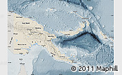Shaded Relief Map of Papua New Guinea, semi-desaturated