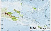 Physical Map of Milne Bay, lighten