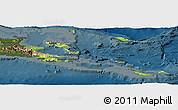 Physical Panoramic Map of Milne Bay, darken