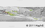 Physical Panoramic Map of Milne Bay, desaturated