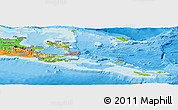 Physical Panoramic Map of Milne Bay, political outside