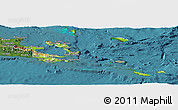 Physical Panoramic Map of Milne Bay, satellite outside