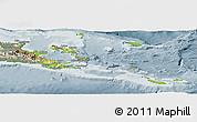 Physical Panoramic Map of Milne Bay, semi-desaturated