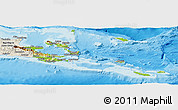 Physical Panoramic Map of Milne Bay, shaded relief outside