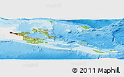 Physical Panoramic Map of Milne Bay, single color outside