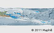 Political Panoramic Map of Milne Bay, semi-desaturated