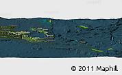 Satellite Panoramic Map of Milne Bay, darken