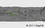 Satellite Panoramic Map of Milne Bay, desaturated
