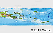 Satellite Panoramic Map of Milne Bay, physical outside