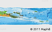 Satellite Panoramic Map of Milne Bay, political outside