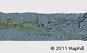 Satellite Panoramic Map of Milne Bay, semi-desaturated