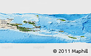 Satellite Panoramic Map of Milne Bay, shaded relief outside