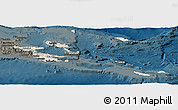 Shaded Relief Panoramic Map of Milne Bay, darken
