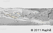 Shaded Relief Panoramic Map of Milne Bay, desaturated