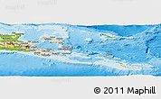 Shaded Relief Panoramic Map of Milne Bay, physical outside