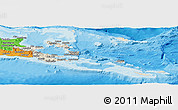 Shaded Relief Panoramic Map of Milne Bay, political outside