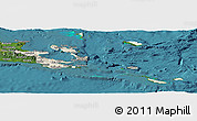Shaded Relief Panoramic Map of Milne Bay, satellite outside