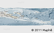Shaded Relief Panoramic Map of Milne Bay, semi-desaturated