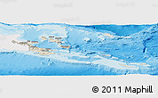 Shaded Relief Panoramic Map of Milne Bay, single color outside