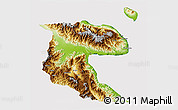 Physical 3D Map of Morobe, cropped outside