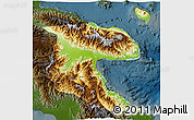 Physical 3D Map of Morobe, darken
