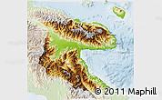 Physical 3D Map of Morobe, lighten