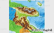 Physical 3D Map of Morobe, political outside