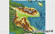 Physical 3D Map of Morobe, satellite outside