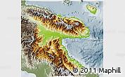 Physical 3D Map of Morobe, semi-desaturated